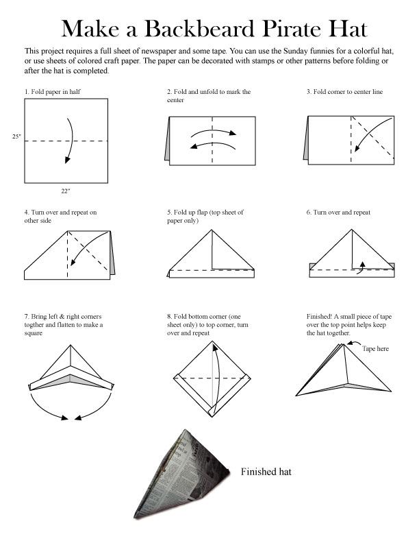 Как из бумаги сделать шляпу пирата своими руками из бумаги