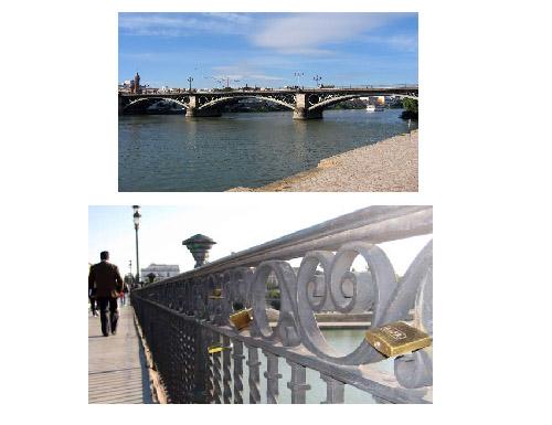 Замки любви на мосту Триана в Севилье